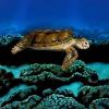 Il mago del body painting nasconde la modella sotto la tartaruga